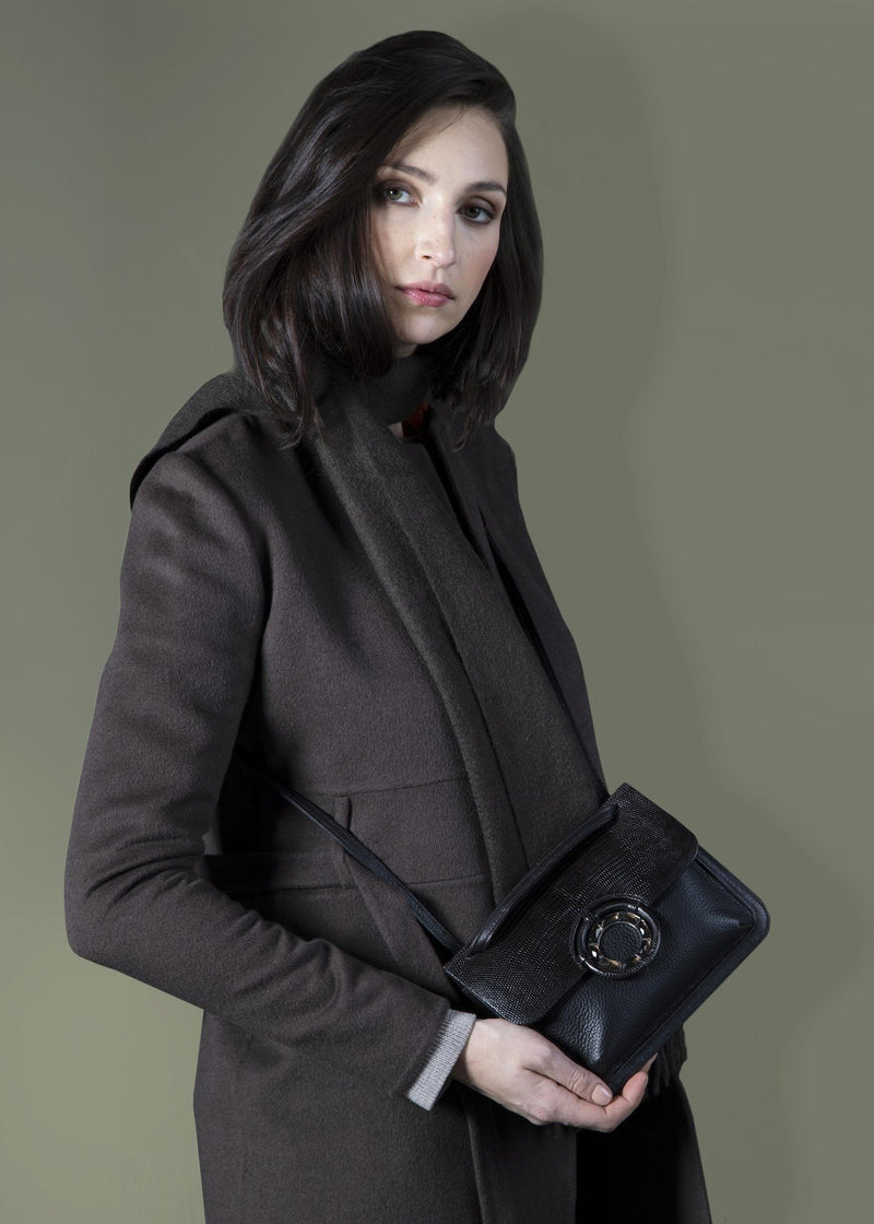 Model with Brown Leather with Brown Lizard Mini Saddle Bag - Darby Scott