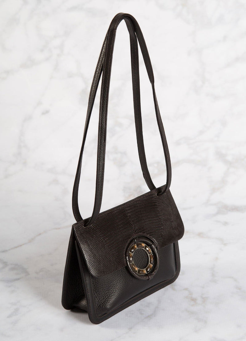 Side View Brown Leather and Lizard Mini Saddle Bag - Darby Scott