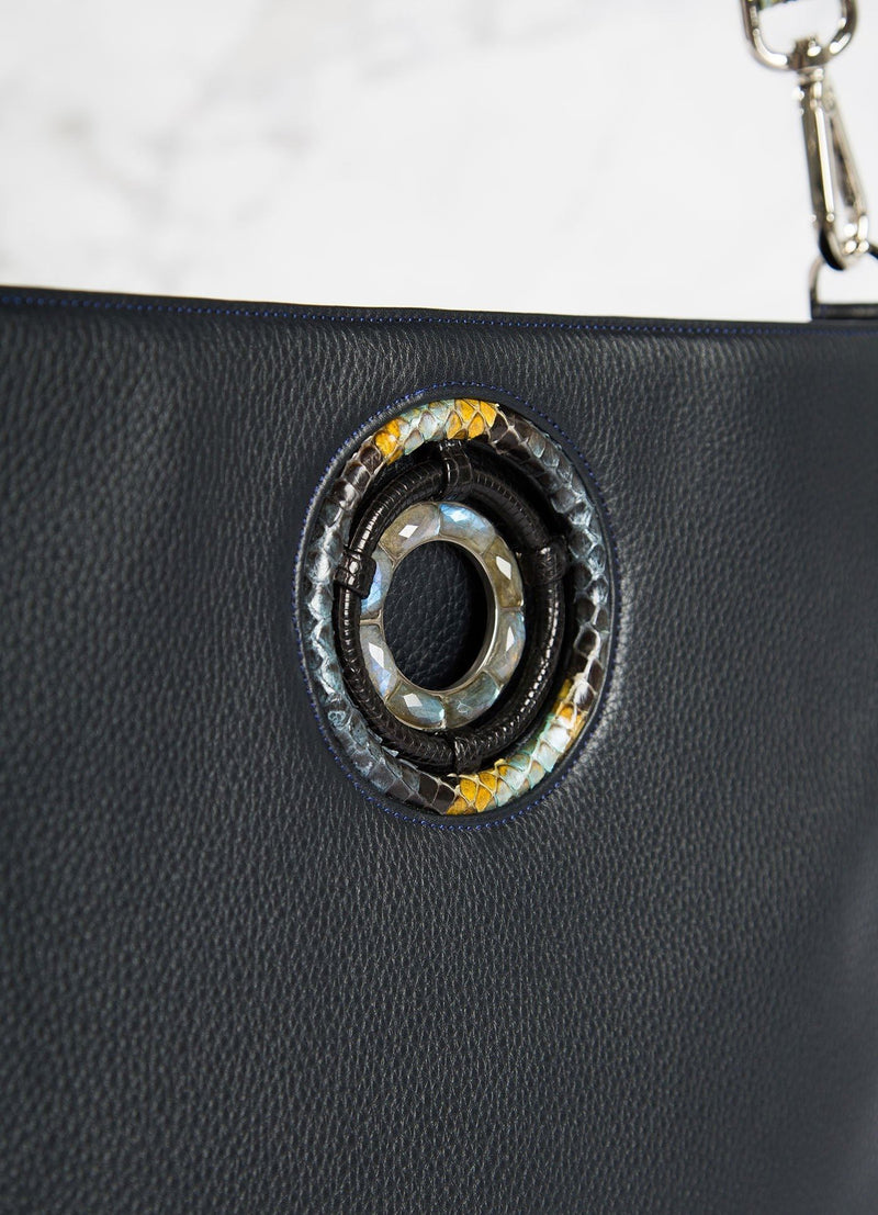 Labradorite gemstones Grommet on Navy Cloe Tote close up - Darby Scott