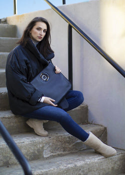 Model with Navy Leather Cloe Cross Body Tote - Darby Scott