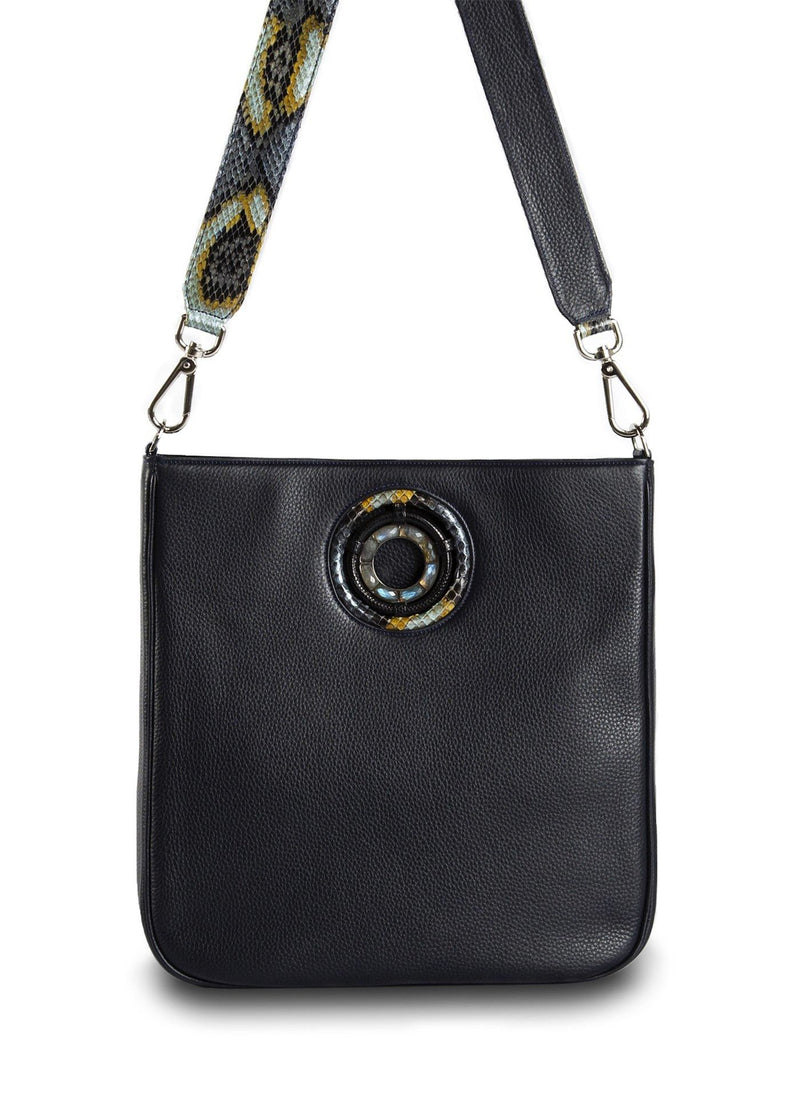 Navy Leather Cloe Cross Body Tote front view - Darby Scott