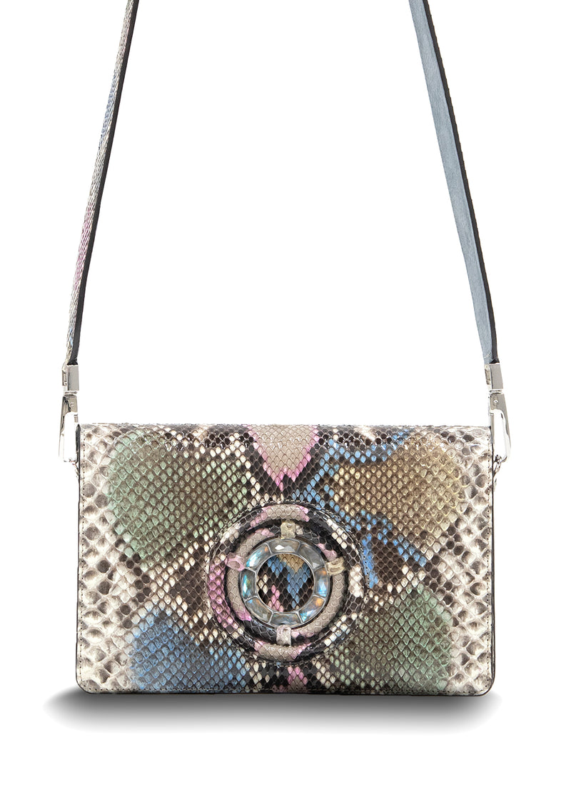 Pastel Colored Python with Labradorite Grommet Cross Body Bag - Darby Scott