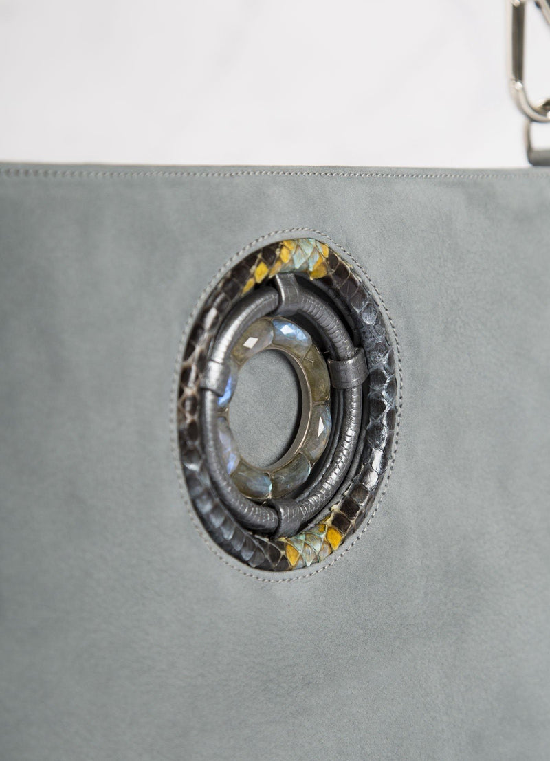 Close up of Labradorite Grommet on Denim Blue Cloe Tote - Darby Scott
