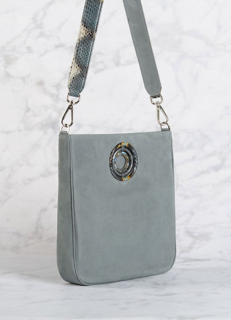 Side view of Denim Blue Crossbody Cloe Tote - Darby Scott