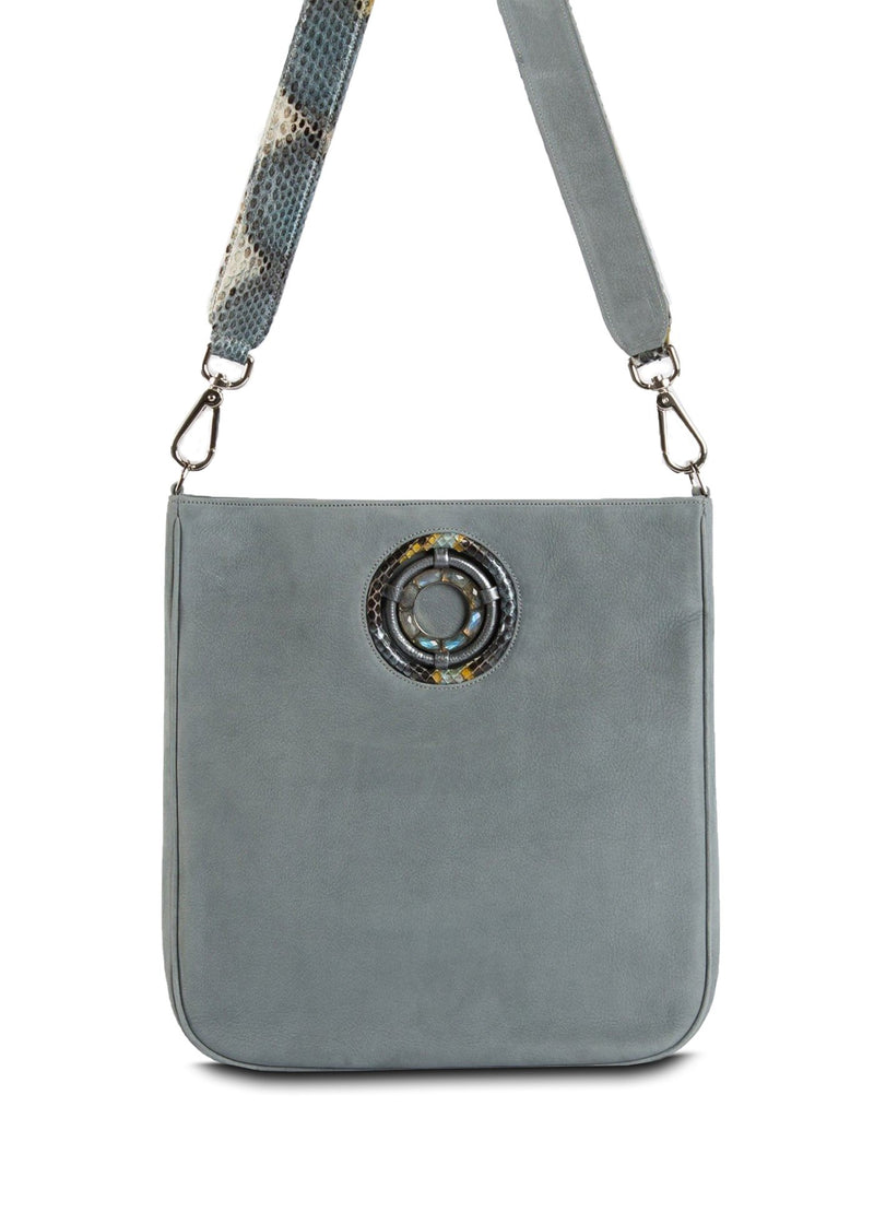 Denim Suede Cloe Crossbody Tote - Darby Scott