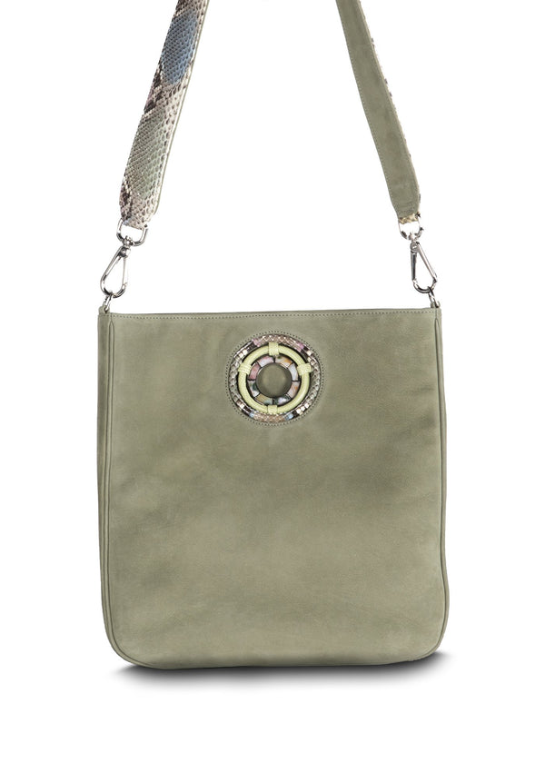 Green Suede Crossbody Tote with Python Strap - Darby Scott