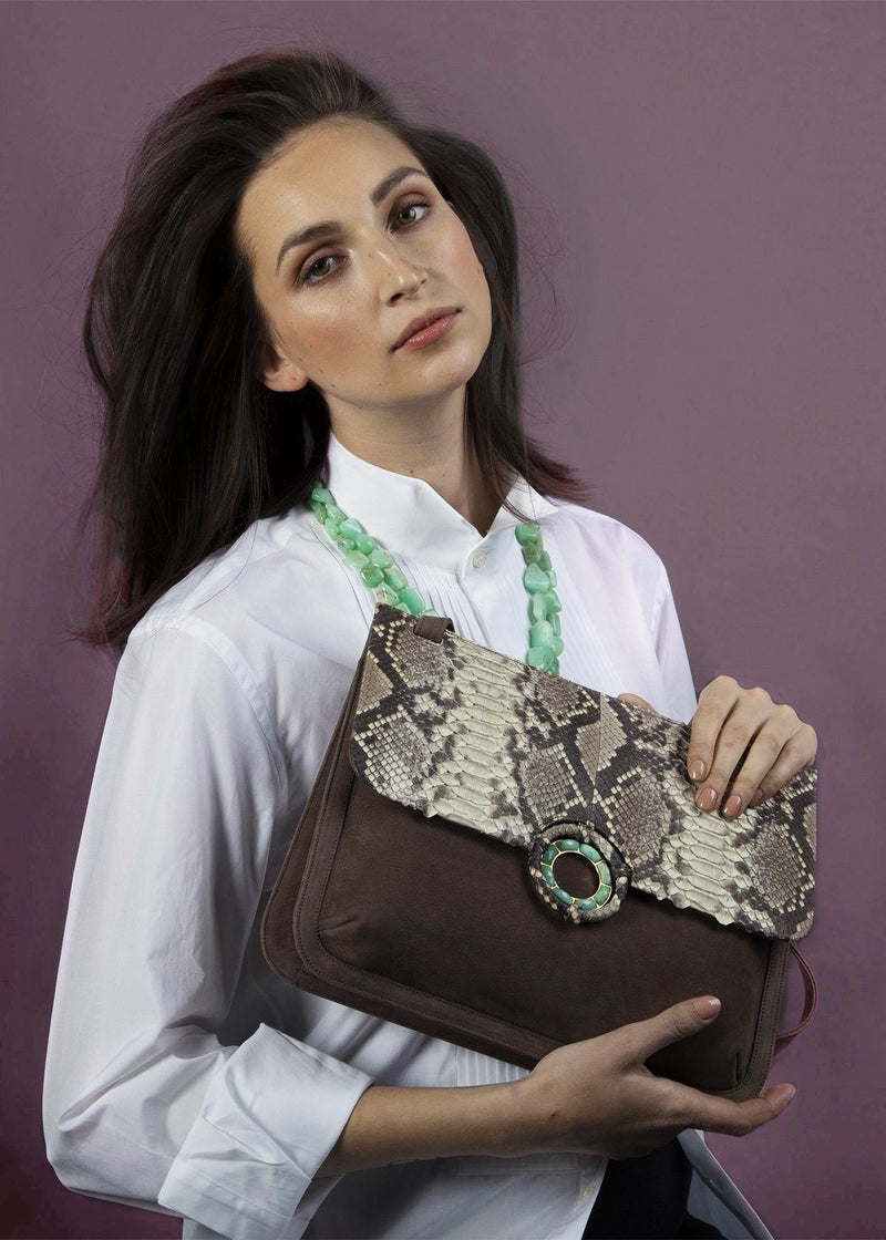 Model with Light Brown Suede and Natural Python Saddle Bag - Darby Scott