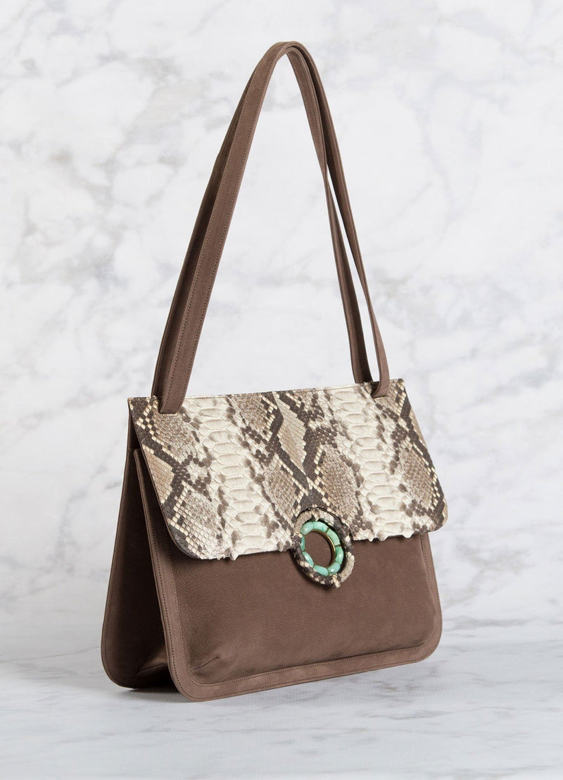 Side View Light Brown Suede with Natural Python Saddle Bag - Darby Scott