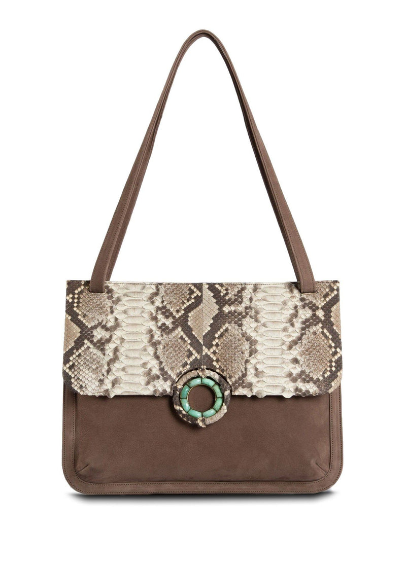 Light Brown Suede with Natural Python Saddle Bag - Darby Scott
