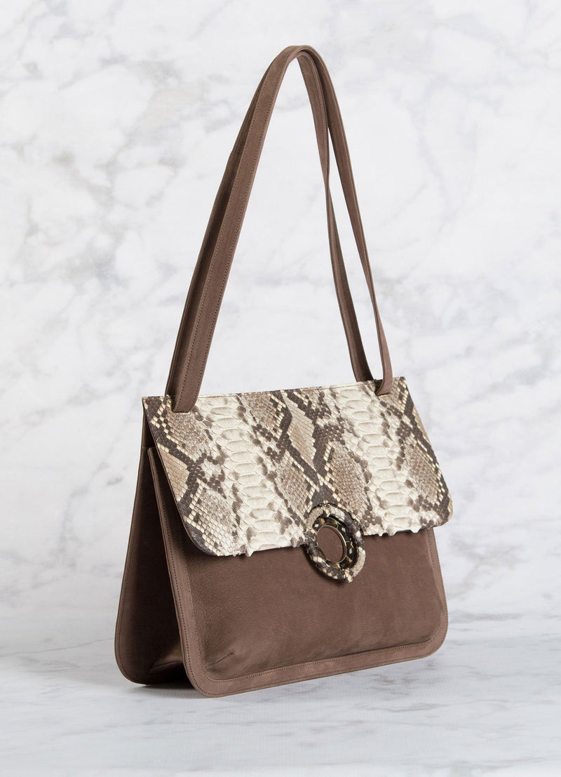 Side View of Saddle Shoulder Bag in Light Brown Suede & Natural trim - Darby Scott