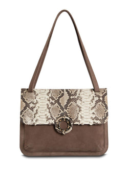 Saddle Shoulder Bag in Light Brown Suede, Natural Python and Smokey Topaz - Darby Scott