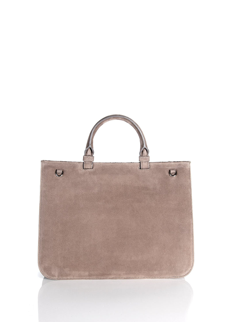 Back panel on light brown suede top handle saddle bag - Darby Scott