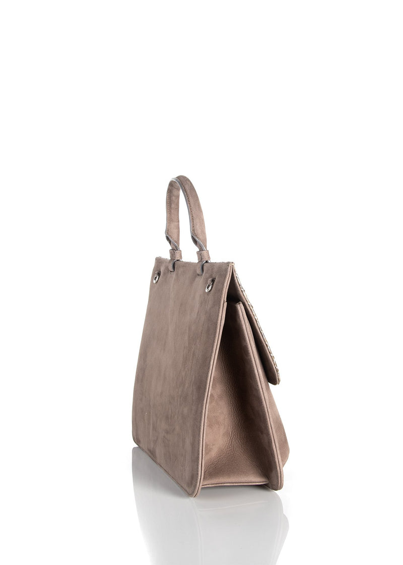 Side gusset on light brown suede top handle saddle bag - Darby Scott