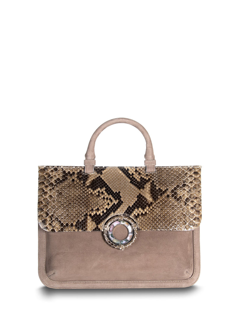 Front light brown suede python handbag - Darby Scott