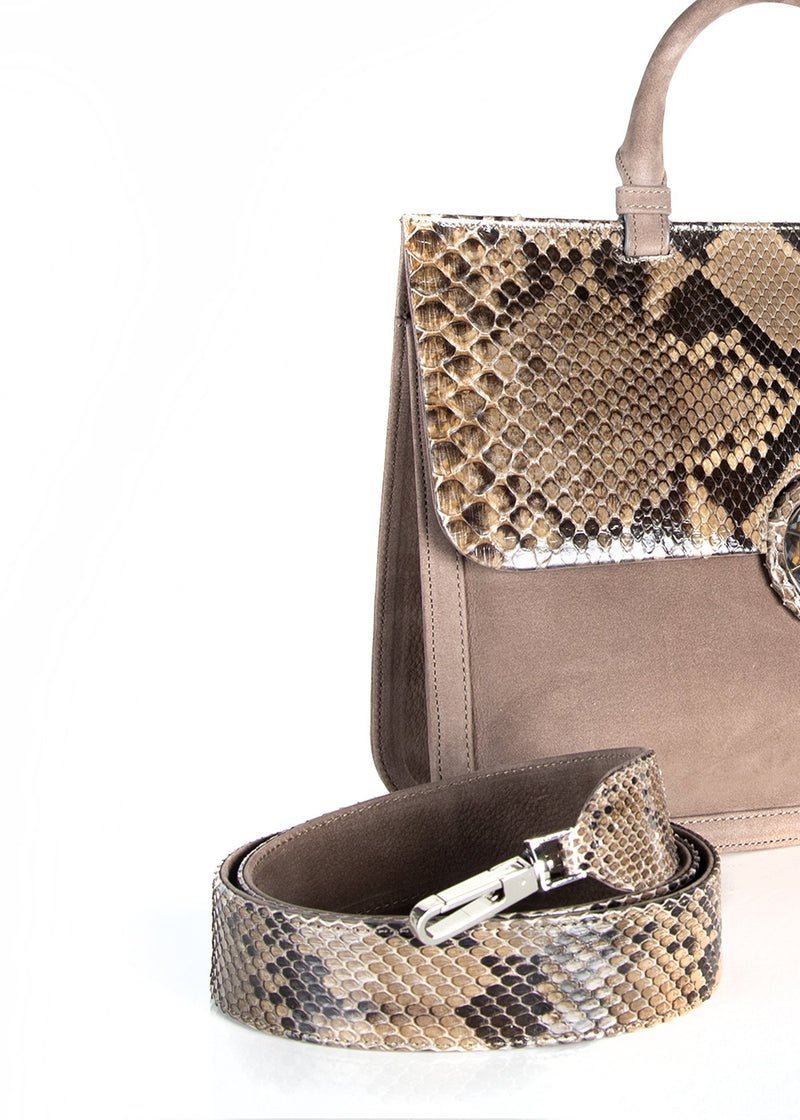 Python strap and detail view of saddle bag in light brown suede - Darby Scott