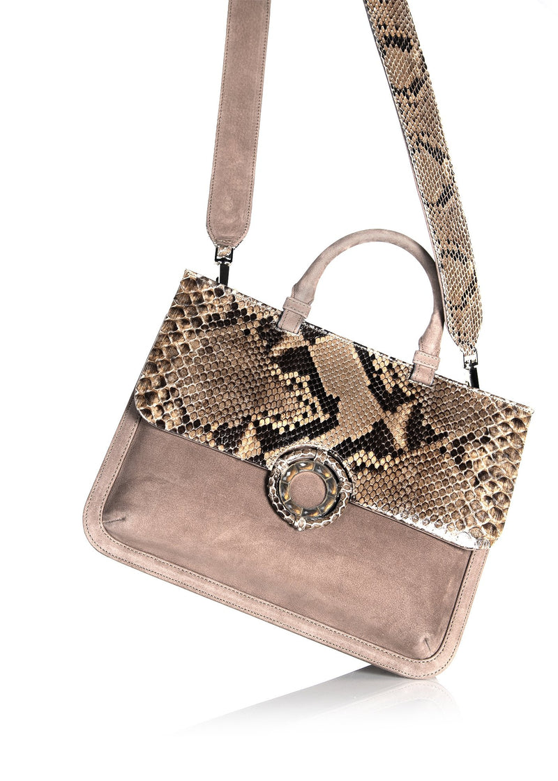 Python Flap and Crossbody Strap on Light Brown Suede Saddle Tote - Darby Scott