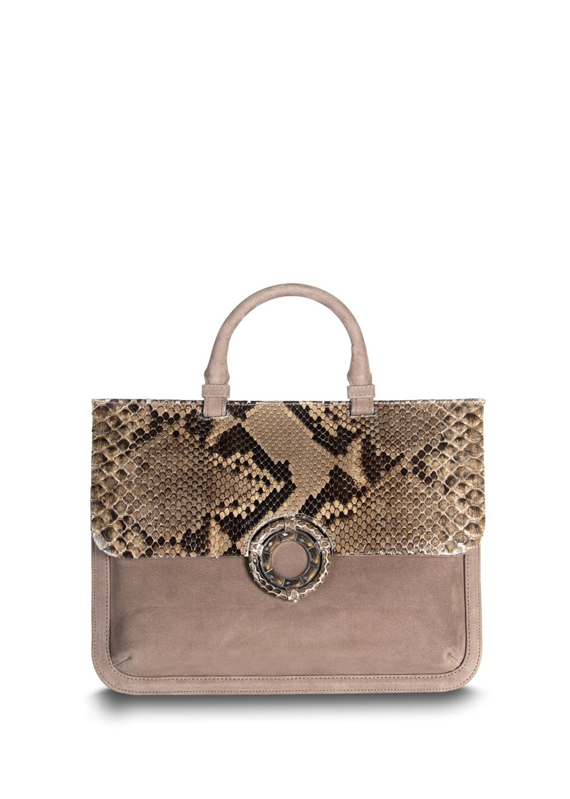 Light Brown Suede with Python Accents Top-Handle Saddle Bag - Darby Scott