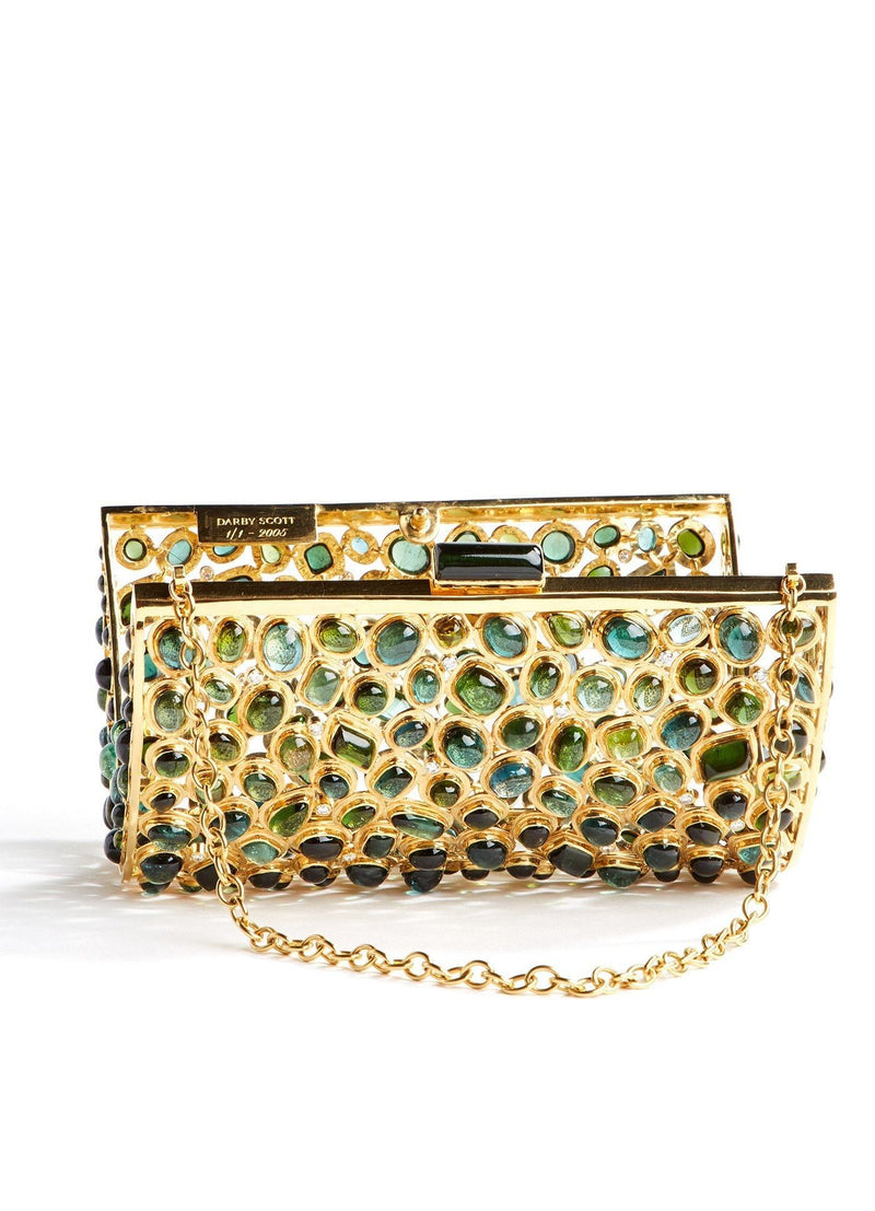 Open front view Jeweled Minaudiere, Tourmaline & Diamond - Darby Scott