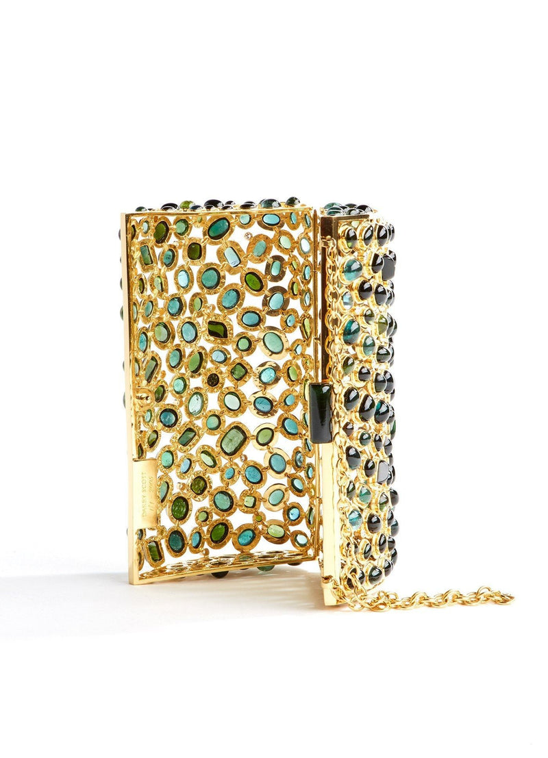 Upright open view Jeweled Minaudiere, Tourmaline & Diamond - Darby Scott