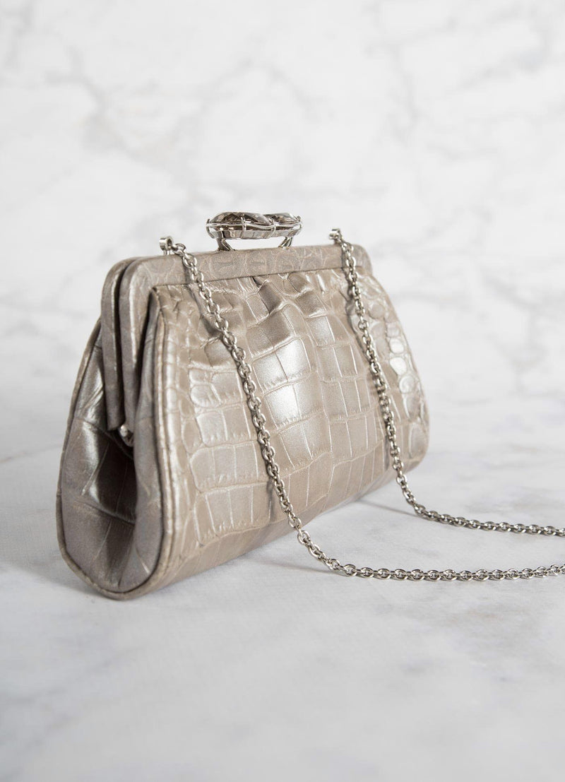 Side View of Mercury Crocodile Evening Bag - Darby Scott