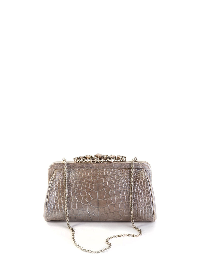 Mercury Alligator Mini Clutch with Silver Chain and Toplock of Smokey Topaz Gemstones - Darby Scott