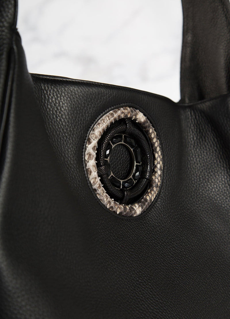 Detail of Black Onyx Grommet on Black Leather Paige Hobo - Darby Scott