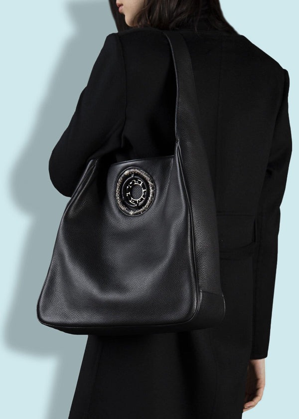 Model with Black Leather Paige Hobo with Black Onyx Grommet - Darby Scott