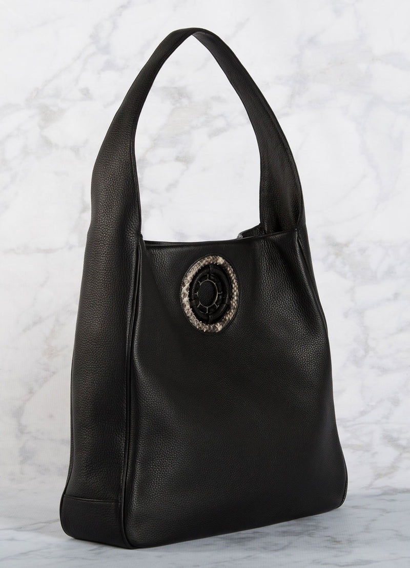 Side of Black Leather Paige Hobo with Black Onyx Grommet - Darby Scott