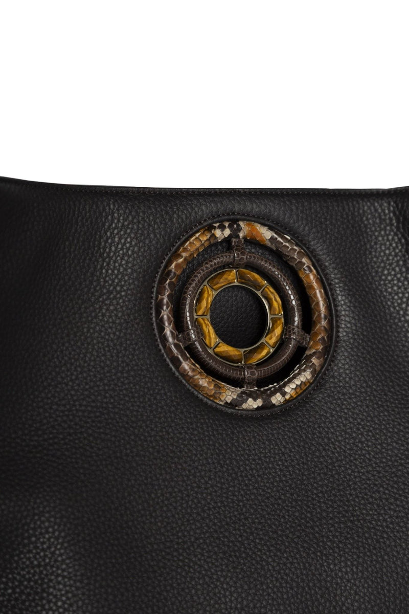 Detail of Tiger Eye Grommet on Brown Leather Paige Hobo Tote - Darby Scott