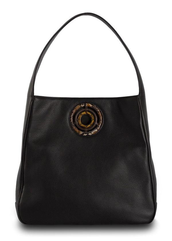 Brown Leather Paige Hobo with Tiger Eye Grommet - Darby Scott