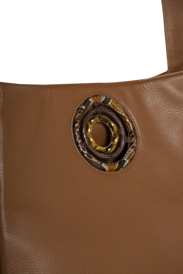 Detail of Tiger Eye Grommet on Paige Hobo Tote - Darby Scott--alternate