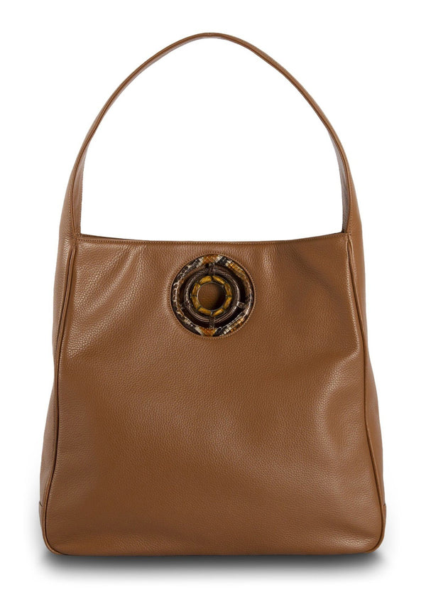 Cognac Leather Paige Hobo with Tiger Eye Grommet - Darby Scott