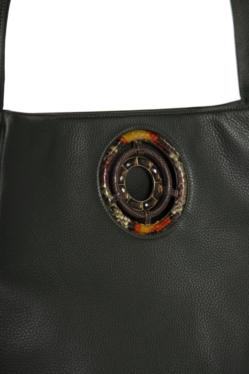 Smokey Topaz Grommet Detail on Leather Paige Hobo - Darby Scott