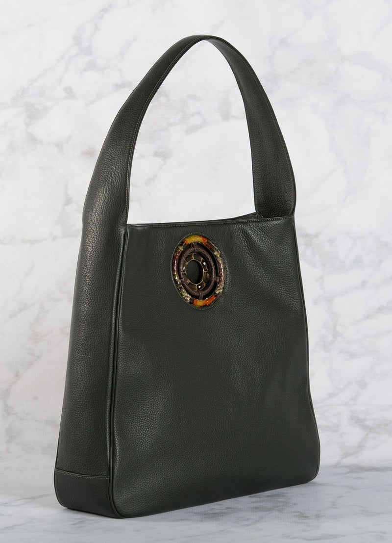 Side of Dark Green Leather Paige Hobo with Smokey Topaz Grommet - Darby Scott