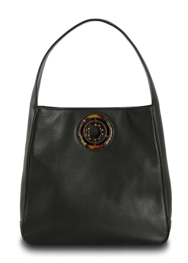 Dark Green Leather Paige Hobo with Smokey Topaz Grommet - Darby Scott