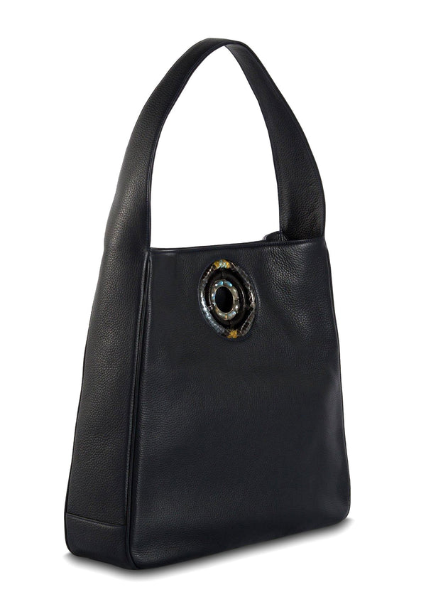 Side of Navy Leather Paige Hobo - Darby Scott--alternate
