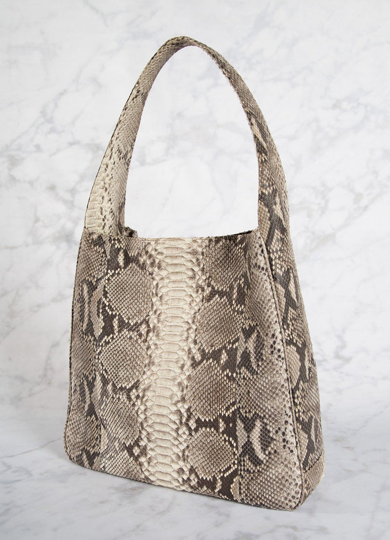 Back of Natural Python Paige Hobo - Darby Scott