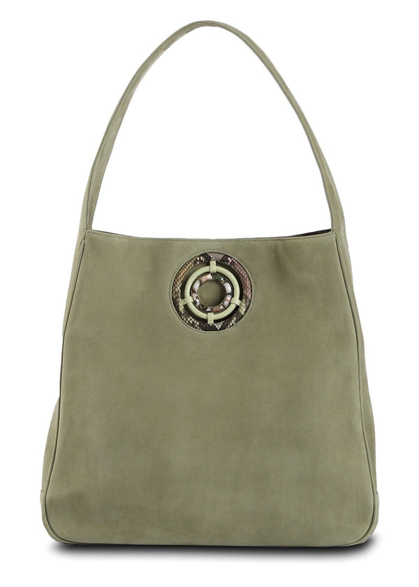 Paige Hobo in Celedon Sueded Leather with Ocean Jasper Grommet - Darby Scott--alternate