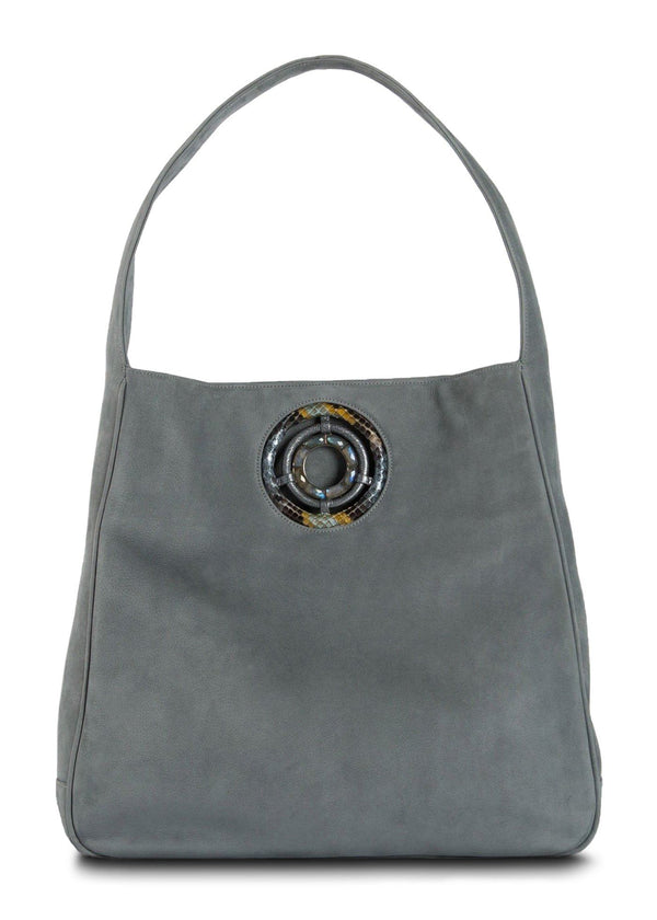 Paige Hobo in Denim Suede with Labradorite Grommet - Darby Scott--alternate