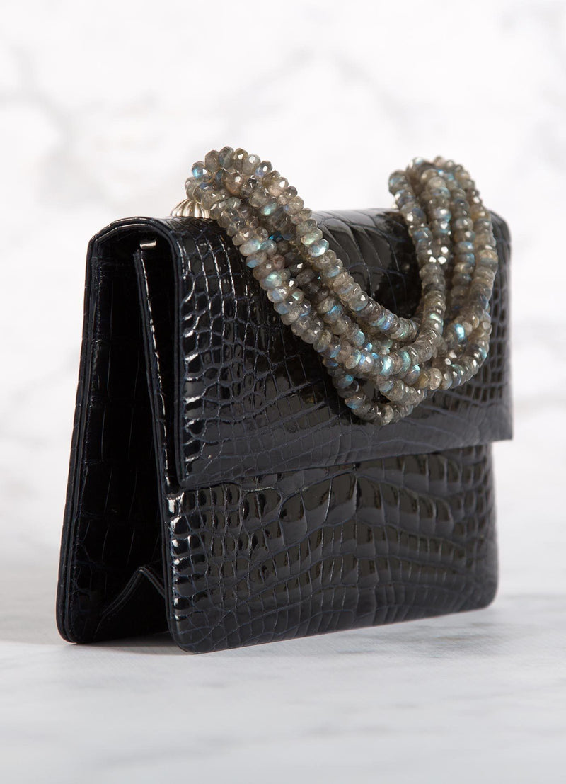Side view of Navy Lizard and Labradorite Necklace Mini Handbag - Darby Scott