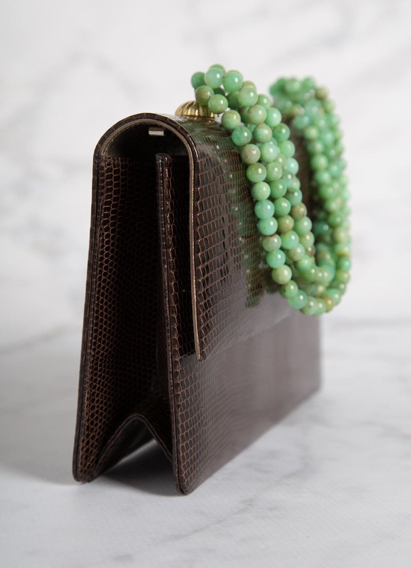 Side view Brown Lizard and Chrysoprase Necklace Handbag - Darby Scott