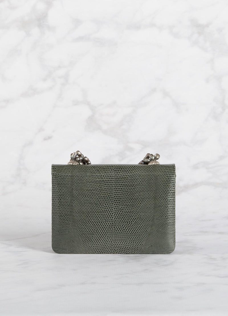 Back view of Grey Lizard and Mother of Pearl Necklace Mini Handbag - Darby Scott