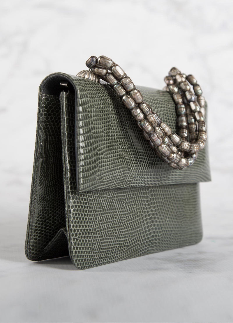 Side view of Grey Lizard and Mother of Pearl Necklace Mini Handbag - Darby Scott
