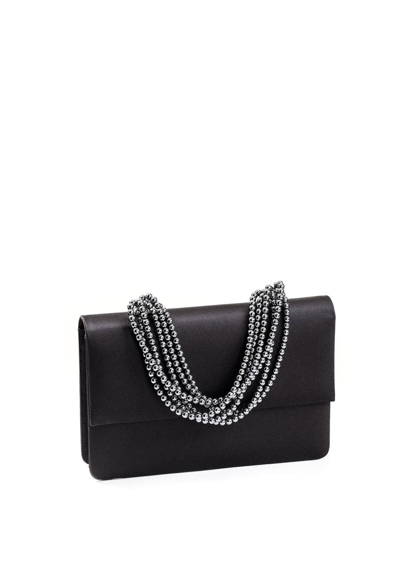 Black Silk and Hematite Necklace Handbag - Darby Scott