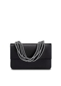 Black Silk Iconic Handbag with Hematite Necklace Handle - Darby Scott
