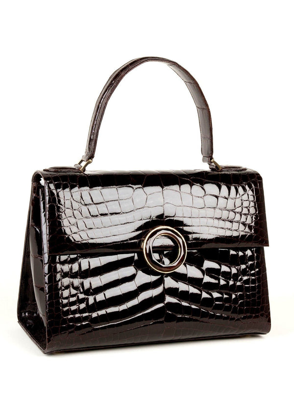 Angled View Chocolate Crocodile Lunchbox with Exotic Trim- Darby Scott--alternate
