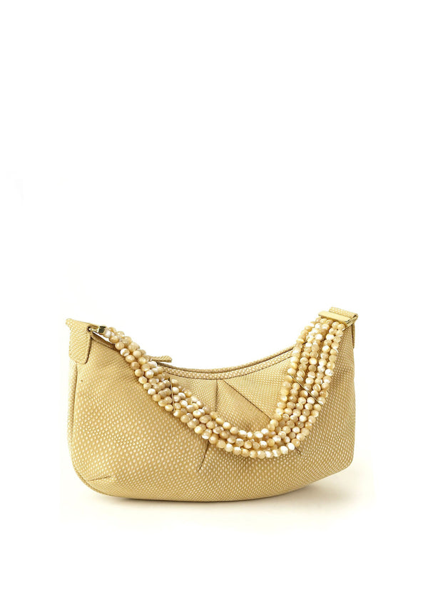 Buttercream Sueded Karung Pochette with Mother of Pearl Handle - Darby Scott  Edit alt text