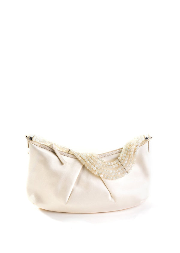 White Silk Satin Pochette with Moonstone beaded handle - Darby Scott