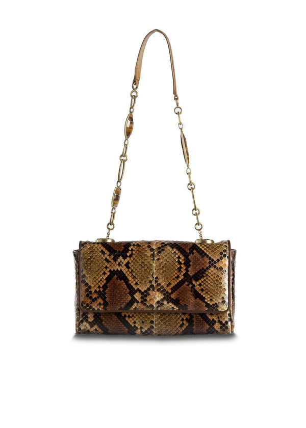 Brown and Black Chain & Jewel Mini Shoulder Bag - Darby Scott