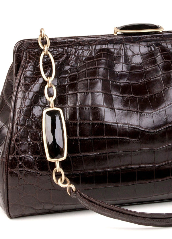 Crocodile Shoulder Bag with Topaz and antiqued brass links close up view - Darby Scott--alternate